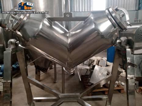 Mezclador en V de acero inoxidable para polvos y granulados